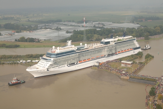 The Celebrity Solstice leaving the dockyard at Papenburg
