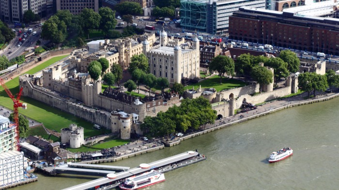 An aerial view of the Tower of London