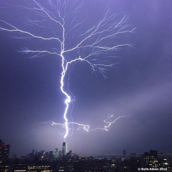 Beth Alison (@bethalison) got this shot of the July 2, 2014 lightning strike of One World Trade Center from her Manhattan apartment … with her phone!
