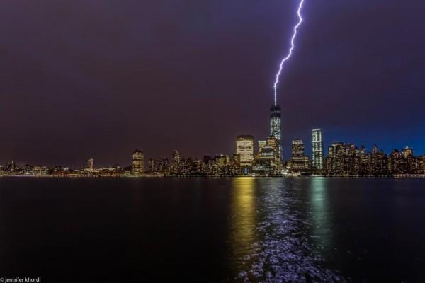 Jennifer Khordi caught the lightning hitting One World Trade Center from New Jersey.
