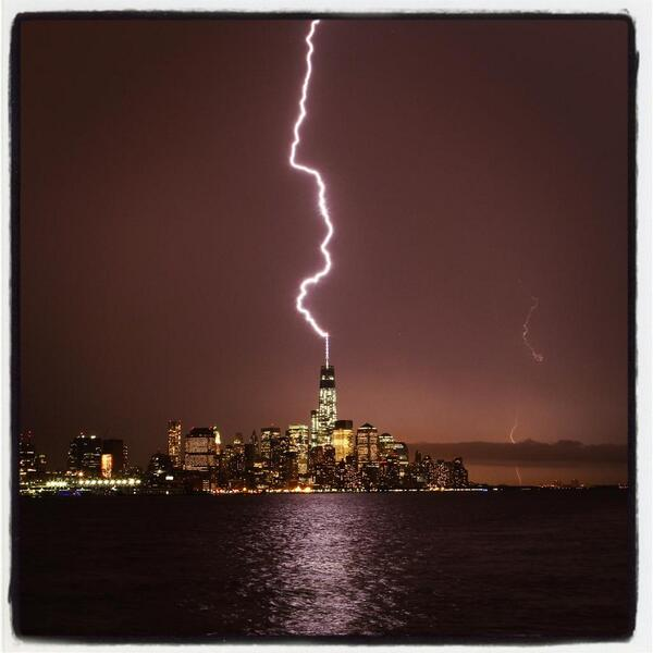 Lightning strikes One World Trade Center July 2, 2014. Gary Hershorn (@garyhershorn), who took this photo, said it turned the sky red.