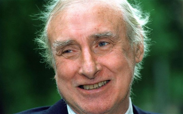 Spike Milligan after receiving his Order of the British Empire (OBE) in 1992.