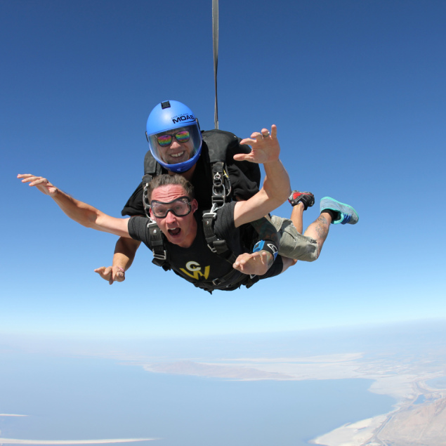 Happiness Engineer Jeremey DuVall realizes he's just jumped out of an airplane.