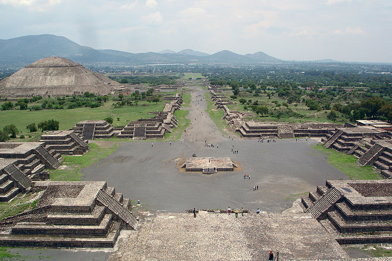 View of the Avenue of the Dead and the Pyramid of the Sun, from Pyramid of the Moon (Pyramide de la Luna).