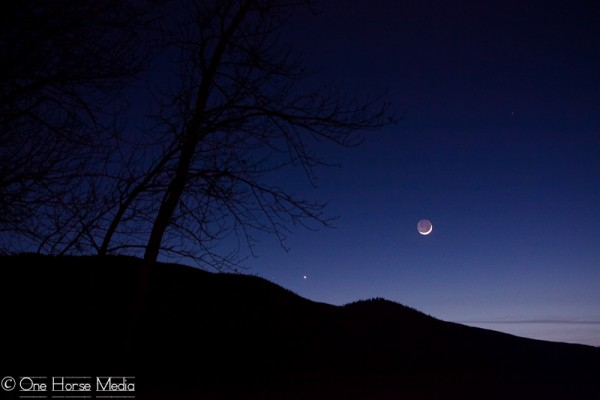 "One Horse Media in Lolo, Montana wrote: ""What a cool moon and view of Venus this evening! I was happy to have just enough time to take a few photos as soon as I got home!"""