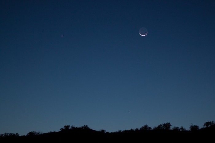 """Hecktor Barrios in Hermosillo, Mexico wrote: """"Venus, Moon and Mercury, the latter barely visible."""""""