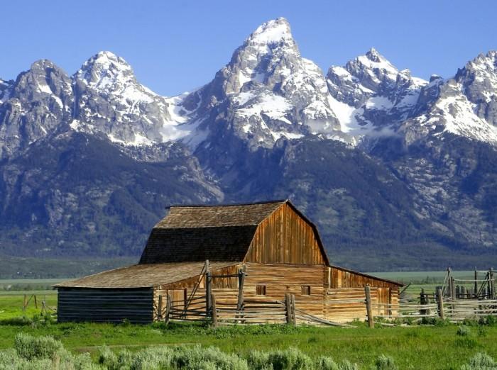 American Wilderness: The John Moulton Barn on Mormon Row at the base of the Tetons. Photo: Jon Sullivan