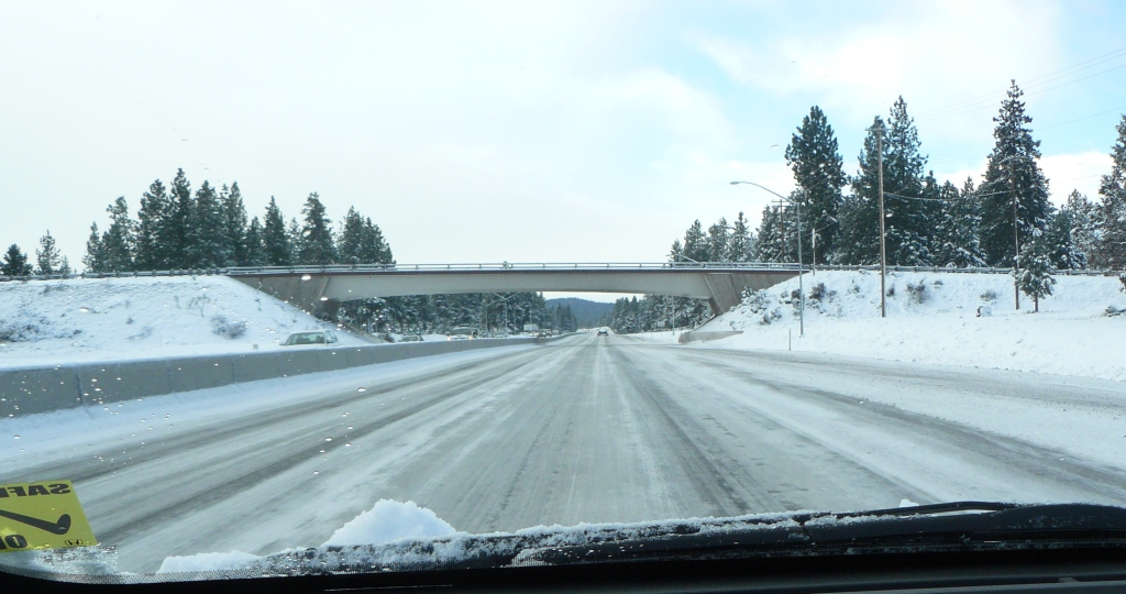 Heading South on OR-97. Picture taken around 9am some 10 miles south of Bend.