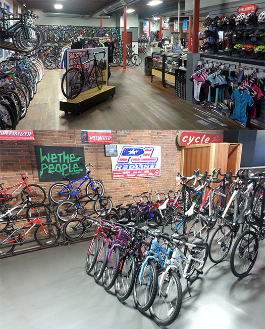 Views of the interior of Don's Bike Center, Grants Pass, Oregon.