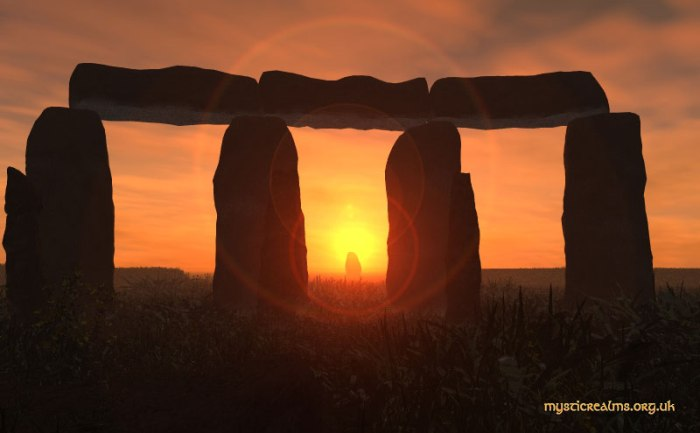 Rising sun over the Heel Stone at Stonehenge on the dawn  of the Summer Solstice.