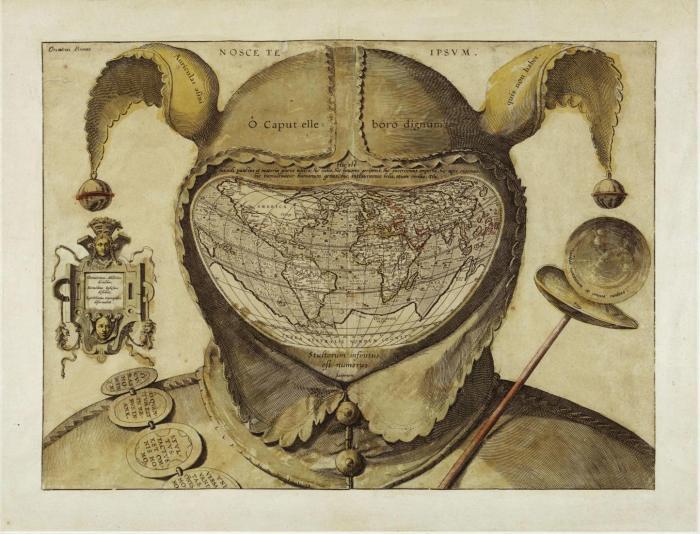 Fool's Cap Map of the World. Unknown origin c.1580-1590