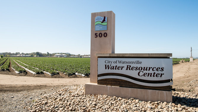 A little-appreciated way of reducing the carbon footprint of food is to recycle nearby water rather than pump it long distances. The Pajaro Valley Water Management Agency (PVWMA) Water Resources Center in California sanitizes wastewater for direct use or blending with ground (well) water. US Department of Agriculture, CC BY