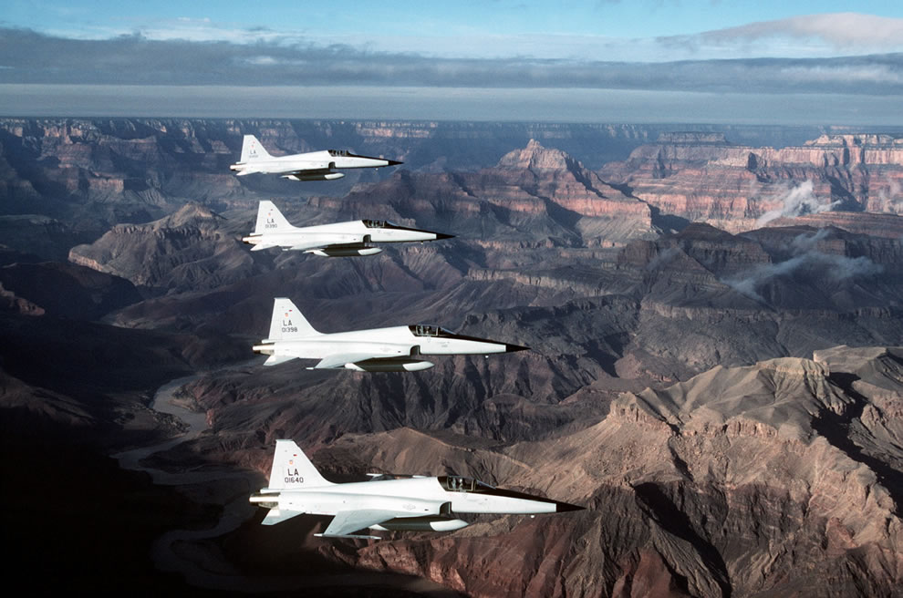 F5e Fighter Planes over the G. Canyon.