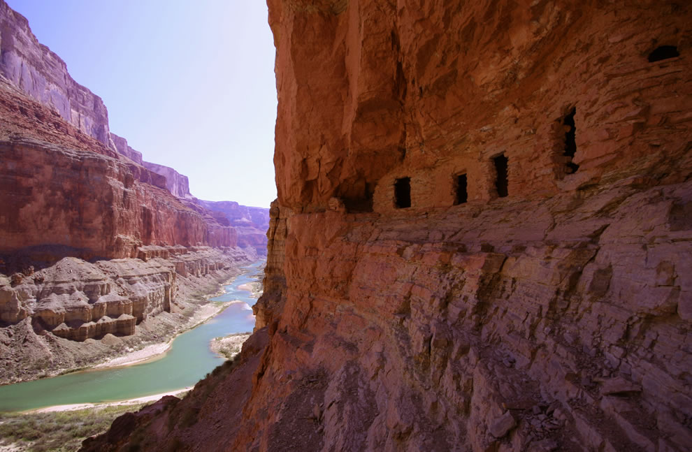 Pueblo-like dwellings over the Colorado River at Nankoweap Creek.
