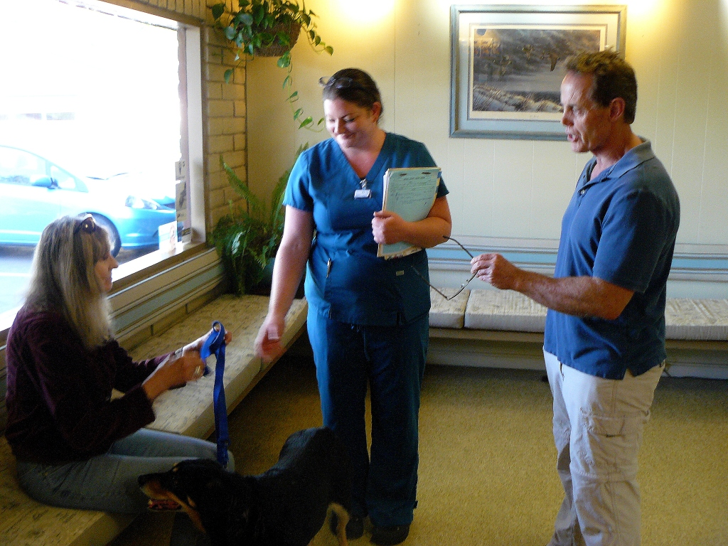 Dr. Codd (RHS) speaking with Jean at the Clinic.