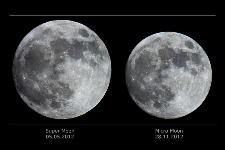 wo full moons as seen from Earth: at perigee on the left, at apogee on the right. Catalin Paduraru