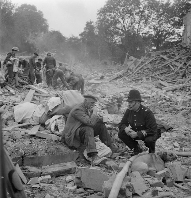 nd sympathy to a now homeless man, who returned home from walking his dog to find his house destroyed and wife killed by a V1 flying bomb. London 1944