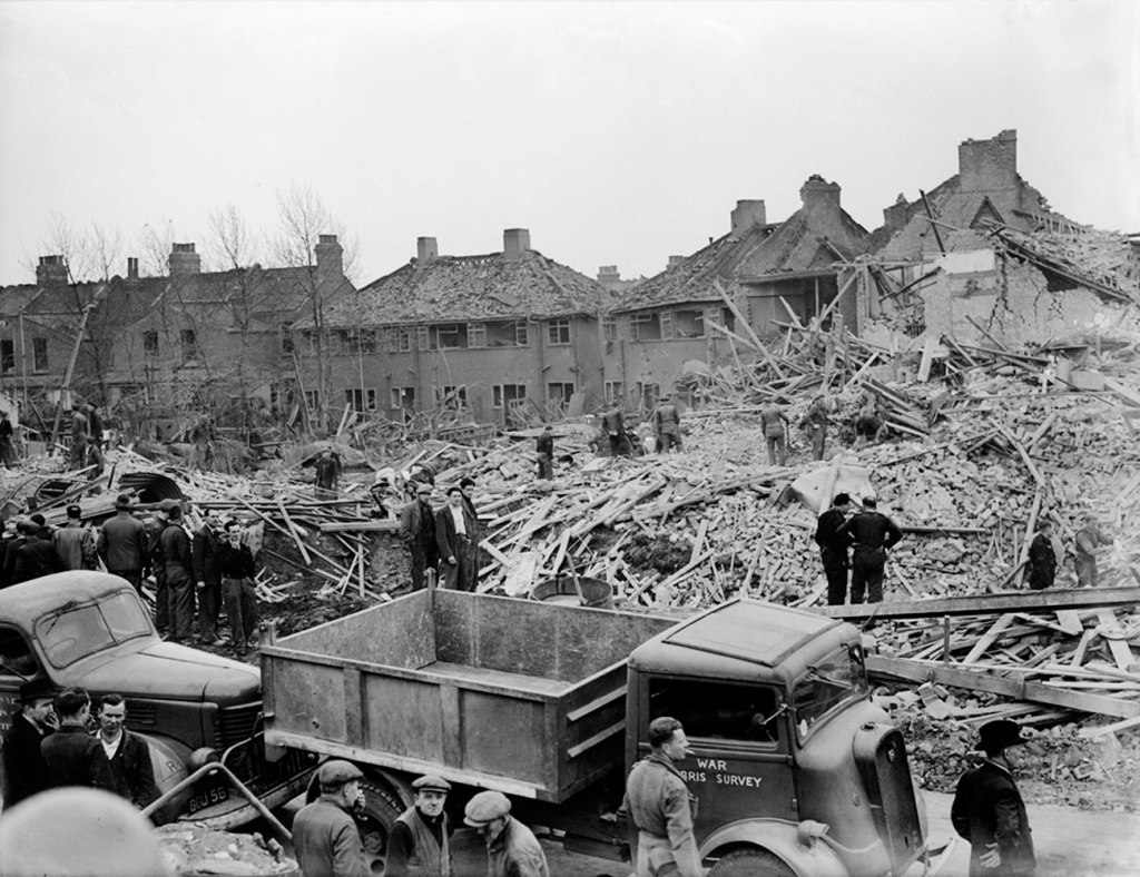 German V-2 bomb damage on Uppingham Avenue, Stanmore, just a few miles from home