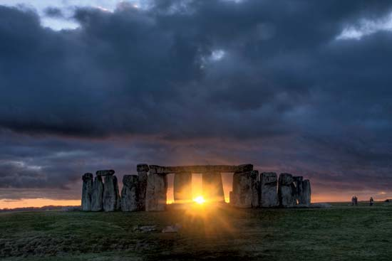 Winter Solstice at the Stonehenge Monument in Southern England.